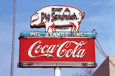 "Texas "" Pig Stands Inc "" Coca Cola Postcard     * FREE US Shipping *"