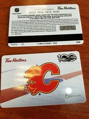 TIM HORTONS Just Released Calgary flames  2017 Fd59160 gift Card With No Value