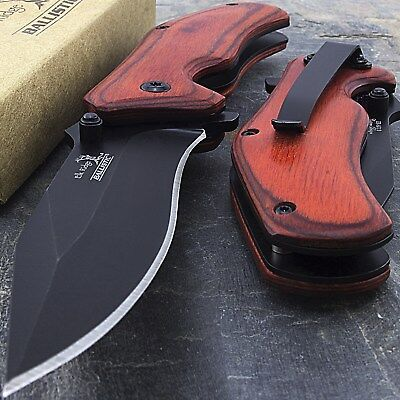 "7"" ELK RIDGE RED WOOD SPRING ASSISTED FOLDING TACTICAL POCKET KNIFE Open EDC"