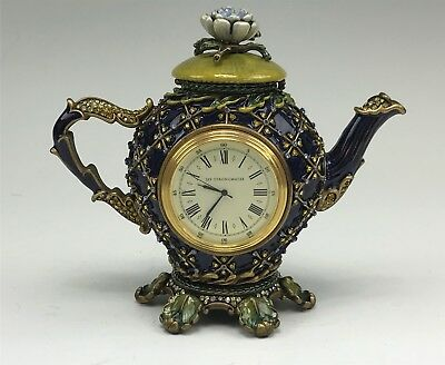 Limited Edition Jay Strongwater Jeweled, Enameled Teapot Shape Clock