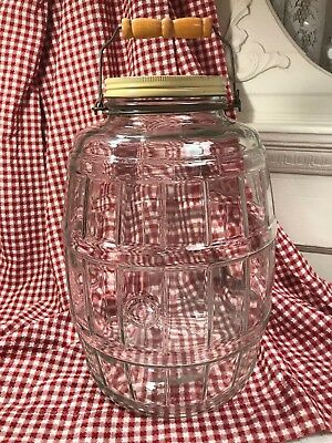 Vintage Large Glass Barrel Shaped Pickle Storage Jar Farmhouse Chic Original Lid