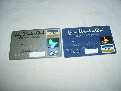 2 Vintage Gary Wheaton Bank Visa Credit Charge Cards Expired 1989 1991