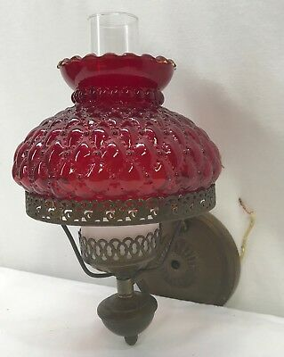Vintage Lavery & Co Brass Wall Light Sconce Ruby Embossed Shade Frosted Chimney
