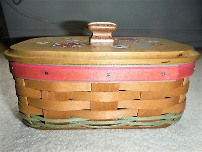 Longaberger Wood Craft Lid Mother'S Day 2010 Basket-Painted Flowers W/knob Top