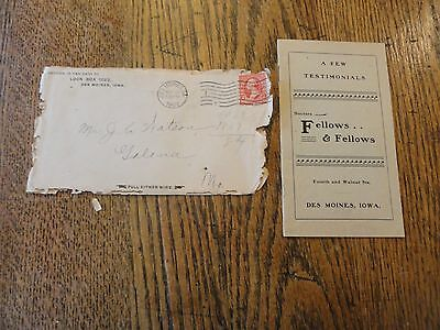 "1902 ""Drs. Fellows & Fellows"" Testimonials Booklet - Original Envelope"