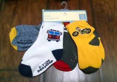 NWT Baby Gap Size 2-3 Boy's Pairs of Socks Fire Trucks, Motorcycle, Stripes