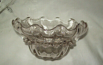 Scalloped Rim Glass Bowl with Outer Fan Pattern Flange