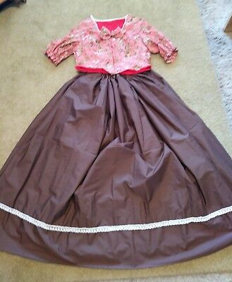 Civil war Old West Dickens Victorian Dress Gown in Coral