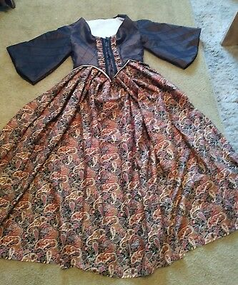 Civil war Old West Dickens Victorian Dress Gown in Brown Shot Taffeta/Paisley