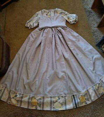 Civil war Old West Dickens Victorian dress in Yellow and Grey