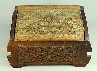 *Antique Deeply Carved Wooden Chest Open Work Sewing Box