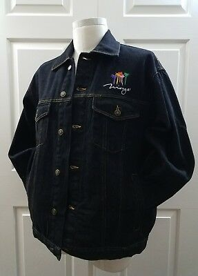 Mens Vintage Mirage Casino Las Vegas Jacket Embroidered Black Denim Cotton Sz XL