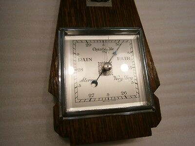 Antique British Made Wooden Wall Barometer / Thermometer.