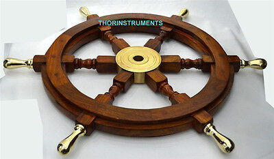 """Authentic! Boat Ships Captains Nautical Ship Wheel 18"""" Wooden Steering Wheel"""