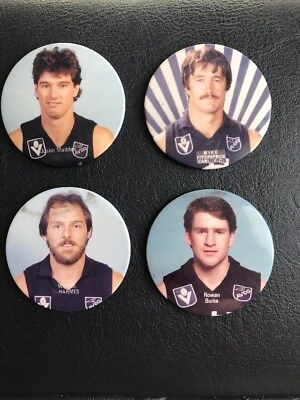 Carlton Football Vfl 4 Player Lot Badge Pin Button Avco Blues Harmes Madden