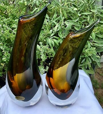 2 Vintage Rikaro Hand Made Crystal Czech Art Glass Sommerso Style Vases & Label