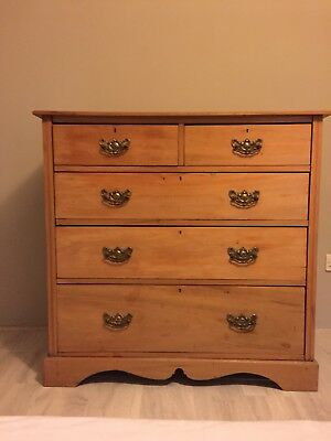 Large Antique Victorian Pine Chest of Drawers with brass drop handles