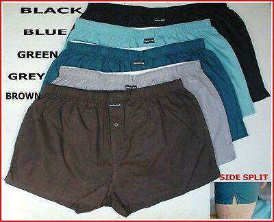 3 or 5 pairs MENS 100% COTTON WOVEN LOOSE FIT PLAIN BOXER SHORTS UNDERWEAR NEW
