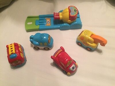 Lot VTECH 4 Tut Tut Bolides + Lanceur Press And Go Pompier Dépanneur Avion