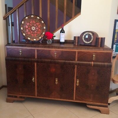 Vintage Art Deco Buffet / Sideboard with 3 Drawers & storage with shelves inside