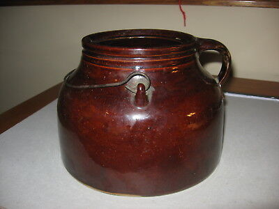 Antique Red Wing Stoneware Boston Baked Bean Pot Large Size With Bailed Handle