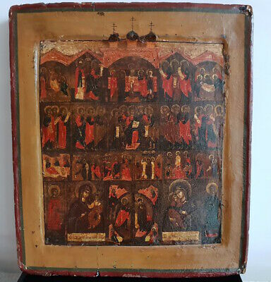 Antique - old - rare Russian Orthodox icon - icoon of first half of the 18th c.