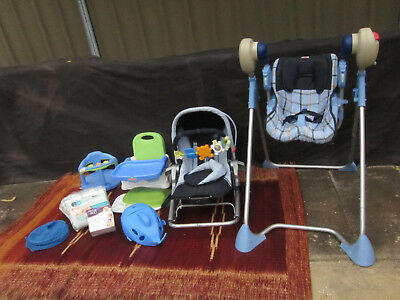 Baby Bundle Lot Swing-O-Matic / Feeding & Bathing Chair / Rocker / New Nappies +