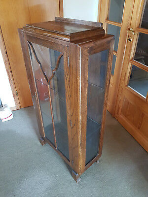 Vintage Art Deco Lockable Glass Fronted and glass sided Cabinet