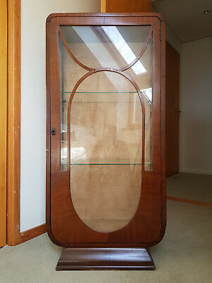 Vintage Art Deco Lockable Glass Fronted Cabinet