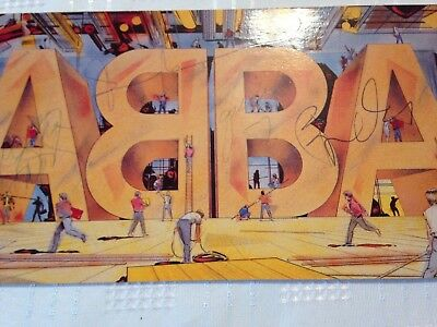 Abba Live Postcard Signed By All 4 Members Fantastic Piece Of Pop History
