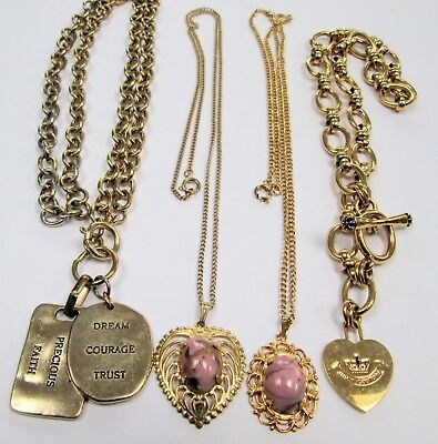 Two vintage gold metal & agate glass pendants & chains + 2 large necklaces