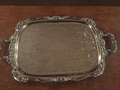 Vintage Gorham Silver plate Butler Tray w Handles ~ Heritage ~ YH318 ~