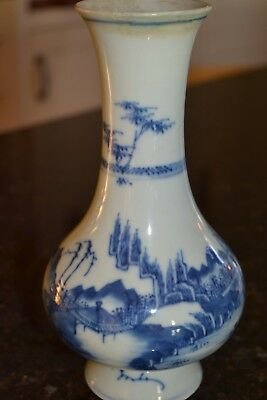 "Vintage chinese BLUE AND WHITE Vase A/f 7.75"" HIGH"