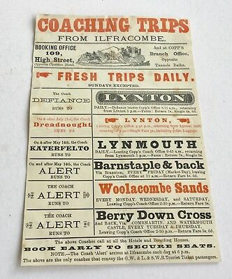 ORIGINAL LEAFLET COACHING TRIPS FROM ILFACOMBE  1894  Measures approx 7.25 x 4.7