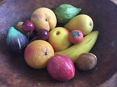 12 Vintage Alabaster Marble Stone Fruit Cherrie Strawberry Fig Pear Walnut Plum