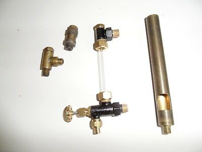 misc live steam boiler parts 5mm glass water gauge, clack valve, whistle, other?