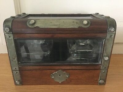 Antique Victorian Mahogany And Bevelled Glass Tea Caddy