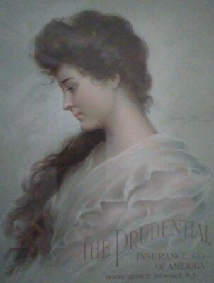 First pin-up girl in first pin-up, Evelyn Nesbit 1908 prudential life insurance