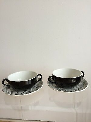 Ridgway Homemaker: Soup Coupes (bowl & saucer) x 2. Very rare