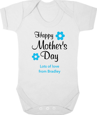 PERSONALISED HAPPY MOTHERS DAY Baby Bodysuit/Grow/Vest Gift/Present I Love Mummy