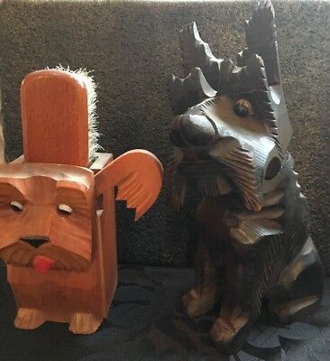 Two Vintage Scottie Dog Brush Holders , Good Condition