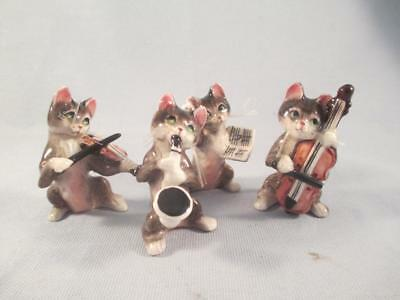 Vintage German Fine Porcelain Figurines Miniature CATS Musical Instruments