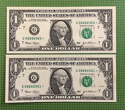 Two Sequential $1 2003 G* Second Run Star ⭐️ Notes Nice Fancy Serial Number