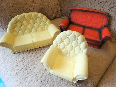 Vintage Pedigree Sindy 2 Sofa Settees and Arm Chair 1970's/80s
