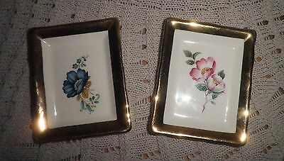 Prinknash Pottery Gloucester England Pair Of Pin Trinket Dishes Vintage Rare