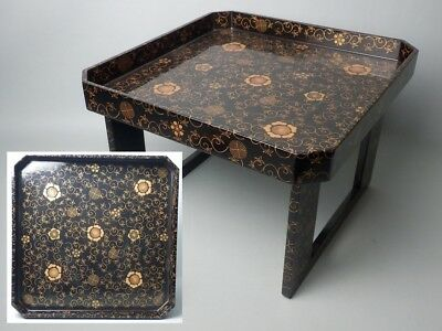 Japanese Antique Meiji Hitorizen Tea Food Trey Table Obon Wood Lacquered Gold