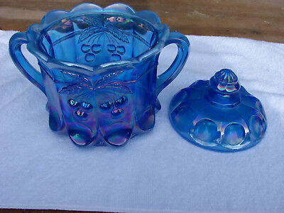 carnival glass blue mosser cookie biscuit jar heavy cherry & cable