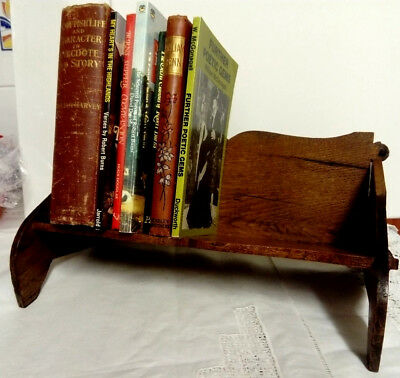 Antique / Vintage Hand Made English Oak Small Desk Or Table Book Shelf / Case