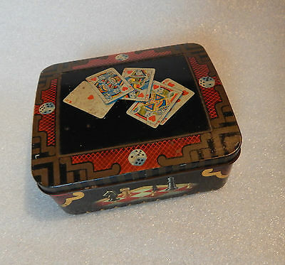Horner toffee Art Deco sweet tin Playing cards and Chess themed 12x10x5.5