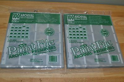 Lot of 2 Print File Archival Preservers 2x2-20H Slide Pages (2 Packs of 100)
